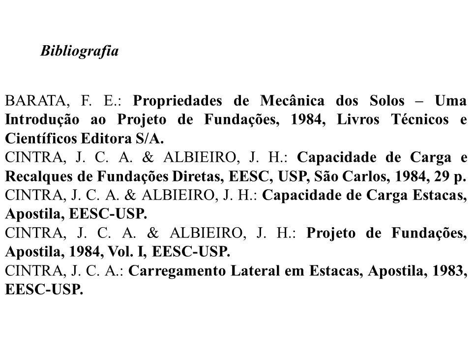Bibliografia BARATA, F. E.: Propriedades de Mecânica dos Solos – Uma Introdução ao Projeto de Fundações, 1984, Livros Técnicos e Científicos Editora S