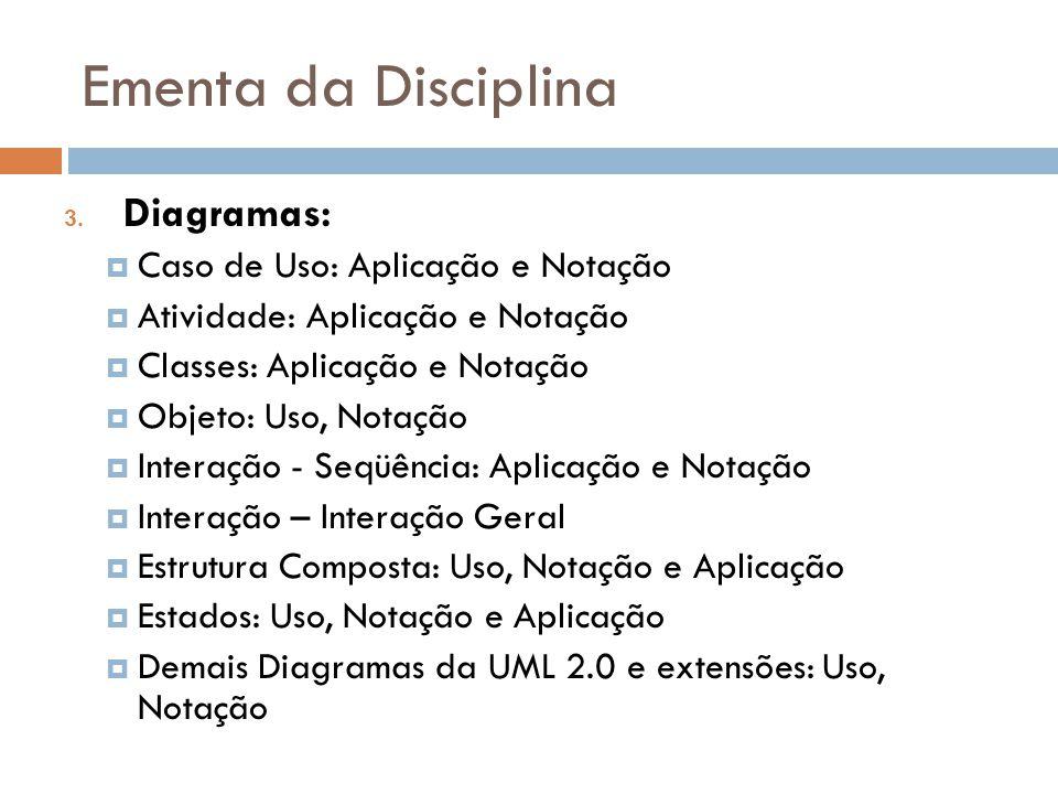 Ementa da Disciplina 3. Diagramas: Caso de Uso: Aplicação e Notação Atividade: Aplicação e Notação Classes: Aplicação e Notação Objeto: Uso, Notação I