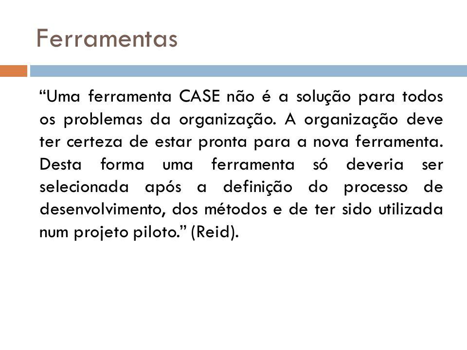 Ferramentas Uma ferramenta CASE não é a solução para todos os problemas da organização. A organização deve ter certeza de estar pronta para a nova fer
