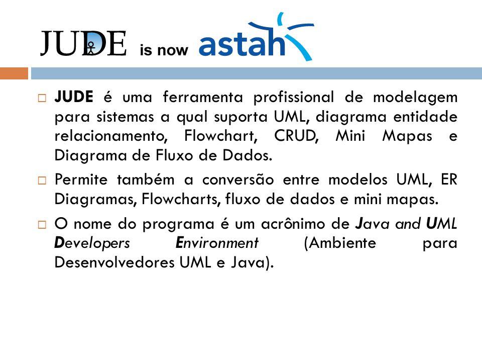 JUDE é uma ferramenta profissional de modelagem para sistemas a qual suporta UML, diagrama entidade relacionamento, Flowchart, CRUD, Mini Mapas e Diag
