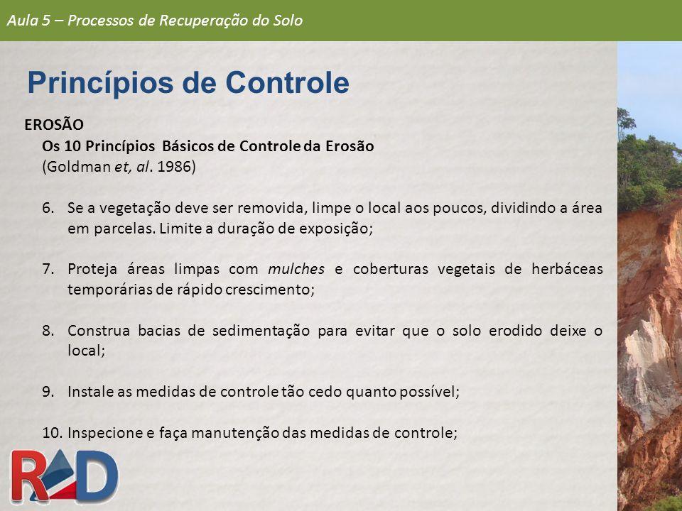 Aula 5 – Processos de Recuperação do Solo Princípios de Controle EROSÃO