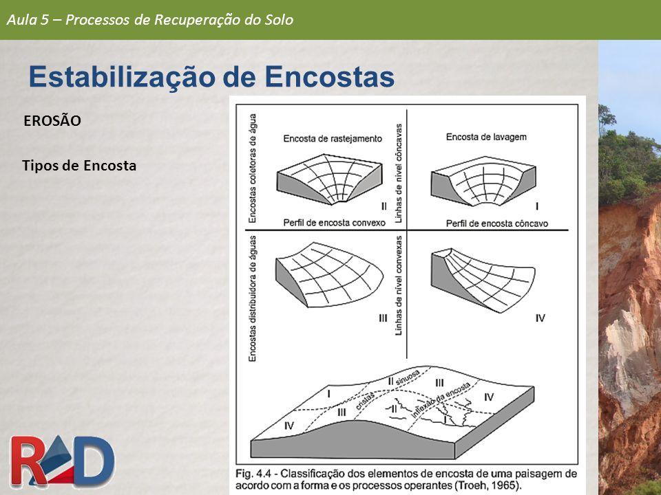 TALUDE DE CORTE talude natural com algum tipo de escavação TALUDE ARTIFICIAL taludes de aterros diversos (rejeitos, bota-foras, etc.) TALUDE ARTIFICIAL (ATERRO) TALUDE NATURAL/ ENCOSTA TALUDE DE CORTE Aula 5 – Processos de Recuperação do Solo Estabilização de Encostas