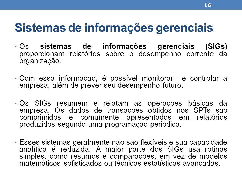 Sistemas de informações gerenciais Os sistemas de informações gerenciais (SIGs) proporcionam relatórios sobre o desempenho corrente da organização. Co