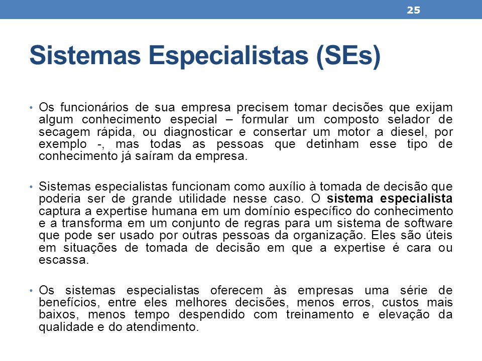 Sistemas Especialistas (SEs) Os funcionários de sua empresa precisem tomar decisões que exijam algum conhecimento especial – formular um composto sela