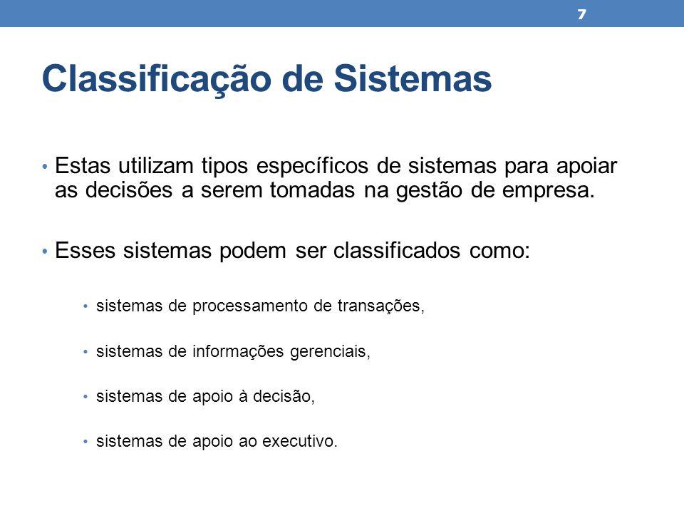 Classificação de Sistemas Estas utilizam tipos específicos de sistemas para apoiar as decisões a serem tomadas na gestão de empresa. Esses sistemas po