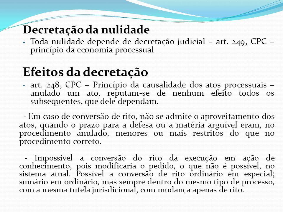 Decretação da nulidade - Toda nulidade depende de decretação judicial – art. 249, CPC – princípio da economia processual Efeitos da decretação - art.