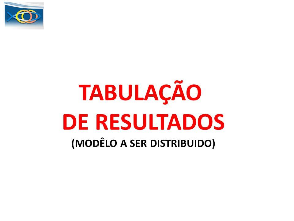 TABULAÇÃO DE RESULTADOS (MODÊLO A SER DISTRIBUIDO)