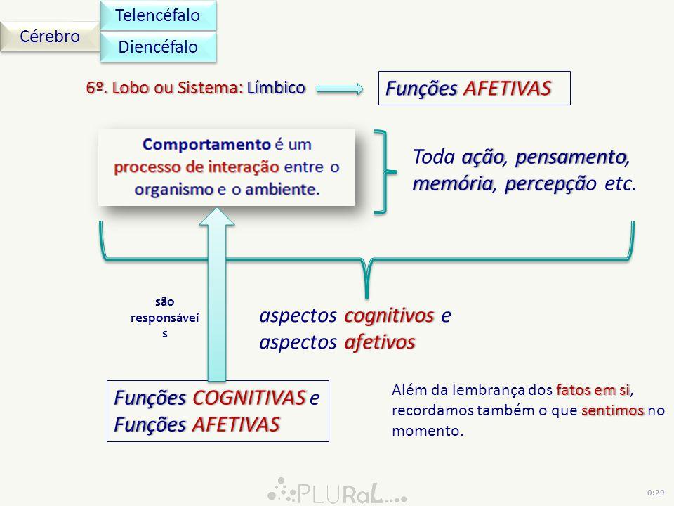 Cérebro Telencéfalo 6º. Lobo ou Sistema: Límbico6º. Lobo ou Sistema: Límbico Diencéfalo açãopensamento memóriapercepçã Toda ação, pensamento, memória,