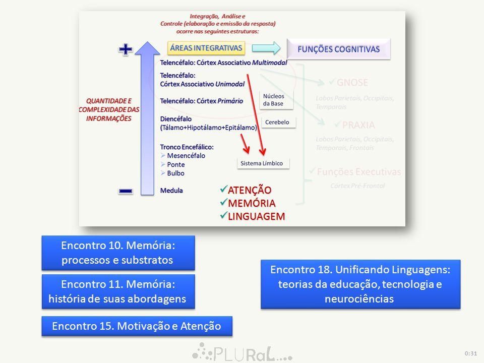 Encontro 18. Unificando Linguagens: teorias da educação, tecnologia e neurociências Encontro 10. Memória: processos e substratos Encontro 11. Memória: