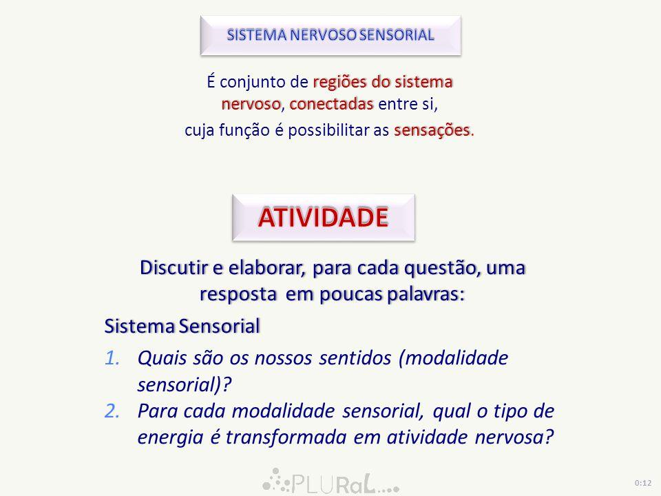 CATEGORIA ORIGEM DO ORGANIZAÇÃO SENTIDO LOCALIZAÇÃO DOS CATEGORIA ORIGEM DO ORGANIZAÇÃO SENTIDO LOCALIZAÇÃO DOS DO SENTIDO ESTÍMULO GERAL MODLIDADE SENSORIAL RECEPTORES DO SENTIDO ESTÍMULO GERAL MODLIDADE SENSORIAL RECEPTORES Calor e Frio Dor Tato e pressão Corpo todo (pele, músculo) VisãoAudiçãoEquilíbrioOlfaçãoGustação Órgãos receptores especializados PropriocepçãoMúsculosTendõesArticulação Sentido visceral ÓrgãosViscerais 0:14
