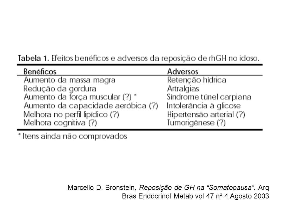 Marcello D. Bronstein, Reposição de GH na Somatopausa. Arq Bras Endocrinol Metab vol 47 nº 4 Agosto 2003