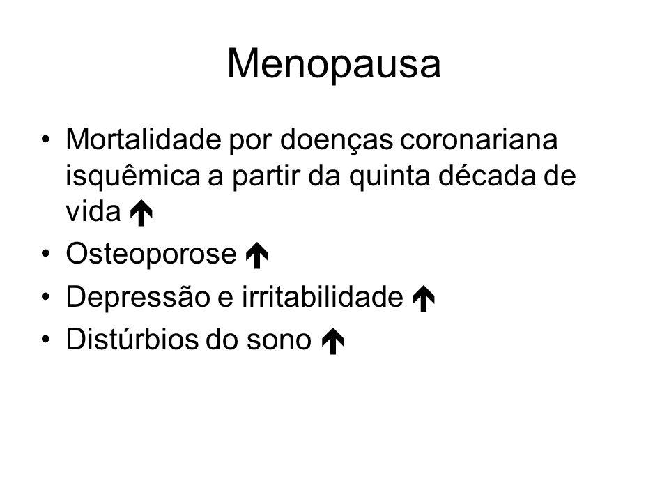 Menopausa Mortalidade por doenças coronariana isquêmica a partir da quinta década de vida Osteoporose Depressão e irritabilidade Distúrbios do sono