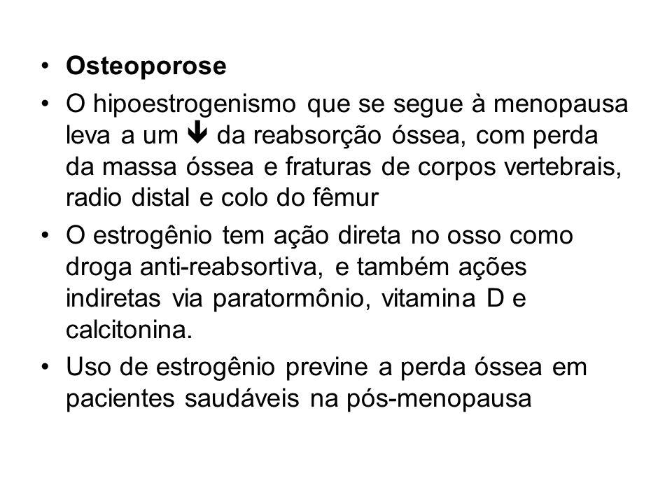 Osteoporose O hipoestrogenismo que se segue à menopausa leva a um da reabsorção óssea, com perda da massa óssea e fraturas de corpos vertebrais, radio