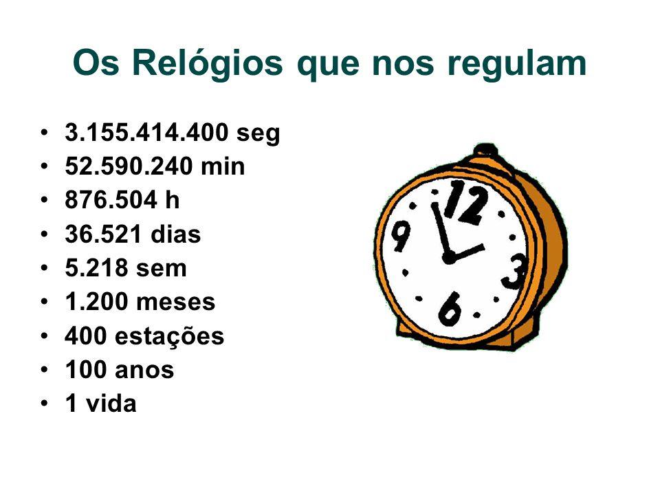 Os Relógios que nos regulam 3.155.414.400 seg 52.590.240 min 876.504 h 36.521 dias 5.218 sem 1.200 meses 400 estações 100 anos 1 vida
