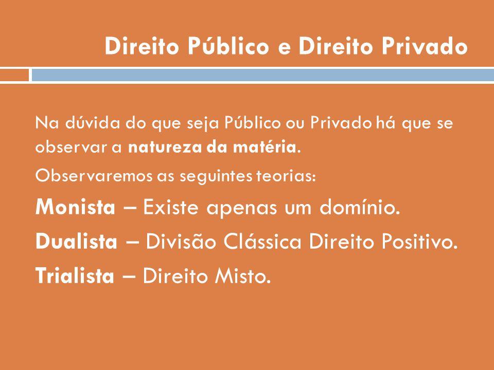 Direito Público e Direito Privado Na dúvida do que seja Público ou Privado há que se observar a natureza da matéria. Observaremos as seguintes teorias