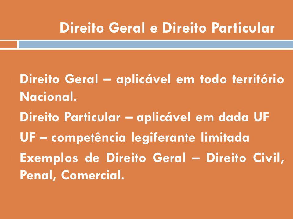 Direito Geral e Direito Particular Direito Geral – aplicável em todo território Nacional. Direito Particular – aplicável em dada UF UF – competência l