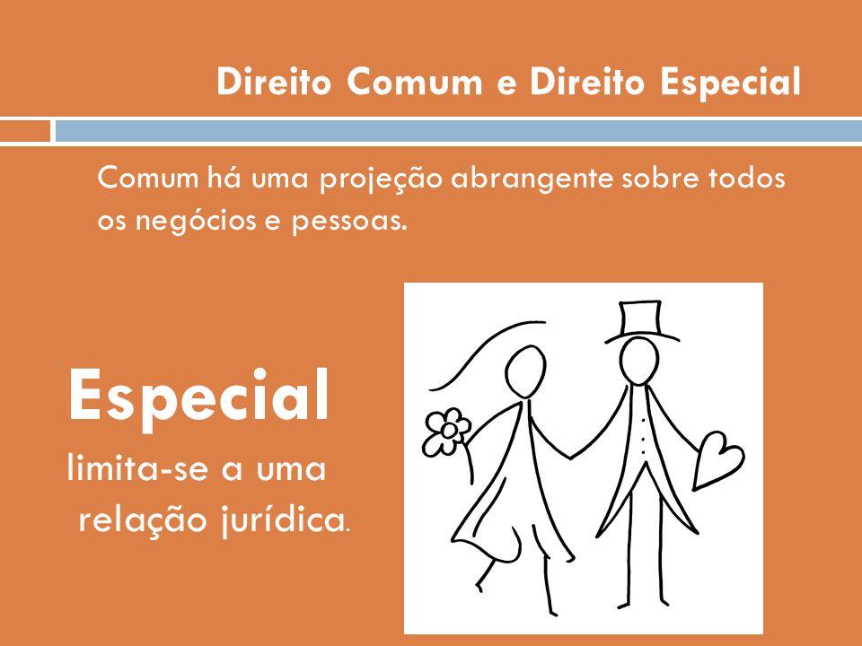 Direito Comum e Direito Especial Comum há uma projeção abrangente sobre todos os negócios e pessoas. Especial limita-se a uma relação jurídica.