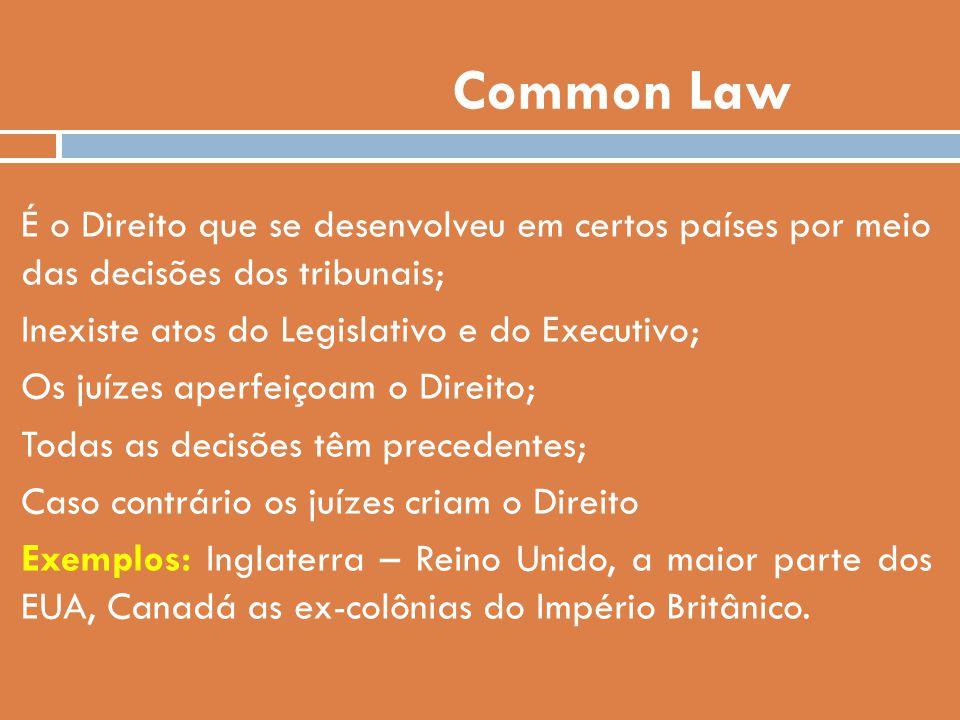 Common Law É o Direito que se desenvolveu em certos países por meio das decisões dos tribunais; Inexiste atos do Legislativo e do Executivo; Os juízes