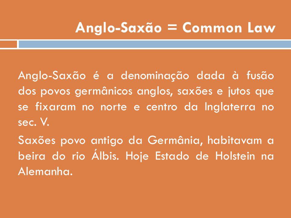 Anglo-Saxão = Common Law Anglo-Saxão é a denominação dada à fusão dos povos germânicos anglos, saxões e jutos que se fixaram no norte e centro da Ingl