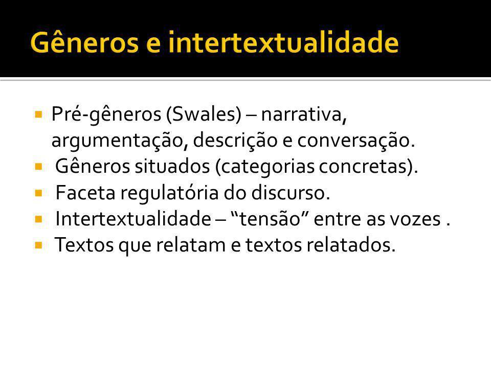Pré-gêneros (Swales) – narrativa, argumentação, descrição e conversação. Gêneros situados (categorias concretas). Faceta regulatória do discurso. Inte