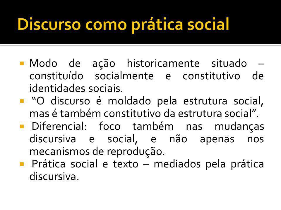 Modo de ação historicamente situado – constituído socialmente e constitutivo de identidades sociais. O discurso é moldado pela estrutura social, mas é