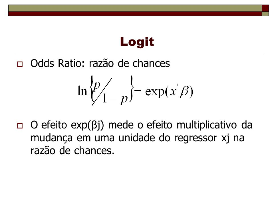 Logit Odds Ratio: razão de chances O efeito exp(βj) mede o efeito multiplicativo da mudança em uma unidade do regressor xj na razão de chances.