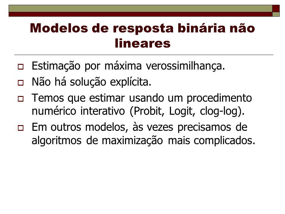 Modelos de resposta binária não lineares Estimação por máxima verossimilhança. Não há solução explícita. Temos que estimar usando um procedimento numé