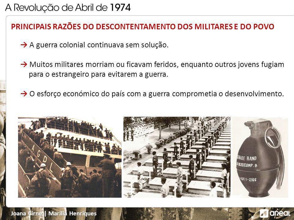 PRINCIPAIS RAZÕES DO DESCONTENTAMENTO DOS MILITARES E DO POVO A guerra colonial continuava sem solução.