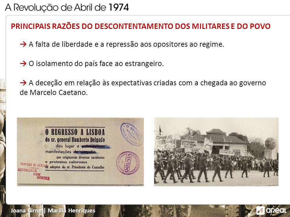 Joana Cirne   Marília Henriques A falta de liberdade e a repressão aos opositores ao regime.