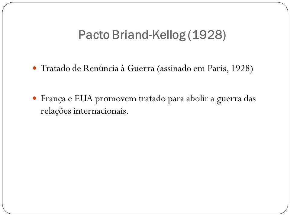 Pacto Briand-Kellog (1928) Tratado de Renúncia à Guerra (assinado em Paris, 1928) França e EUA promovem tratado para abolir a guerra das relações inte