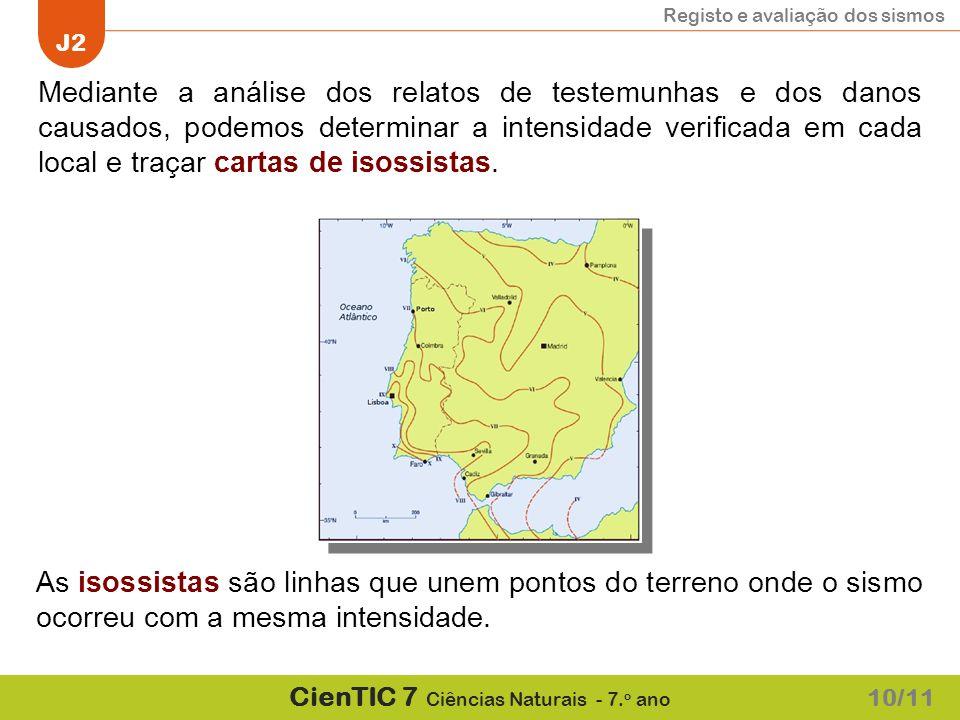 Registo e avaliação dos sismos J2 CienTIC 7 Ciências Naturais - 7. o ano Mediante a análise dos relatos de testemunhas e dos danos causados, podemos d