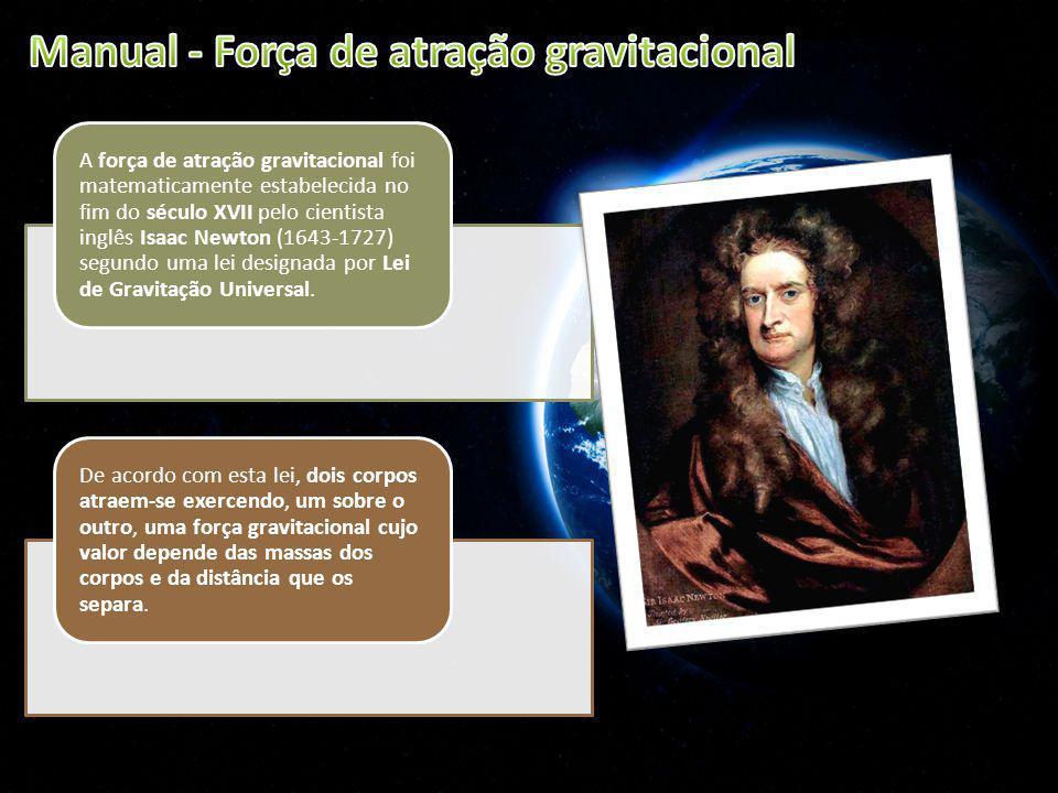 A força de atração gravitacional foi matematicamente estabelecida no fim do século XVII pelo cientista inglês Isaac Newton (1643-1727) segundo uma lei