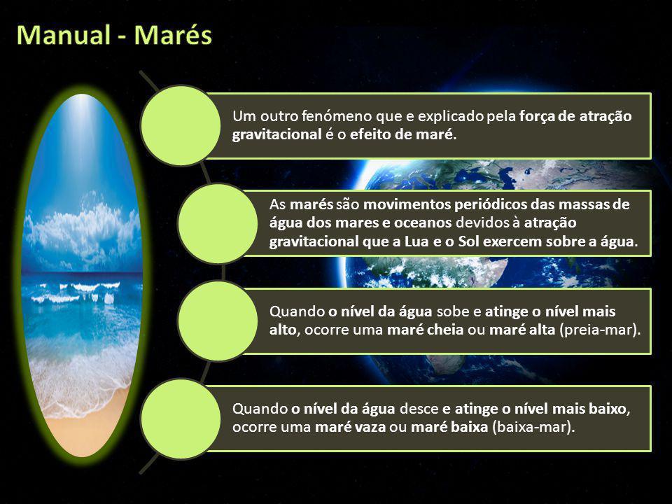 Um outro fenómeno que e explicado pela força de atração gravitacional é o efeito de maré. As marés são movimentos periódicos das massas de água dos ma