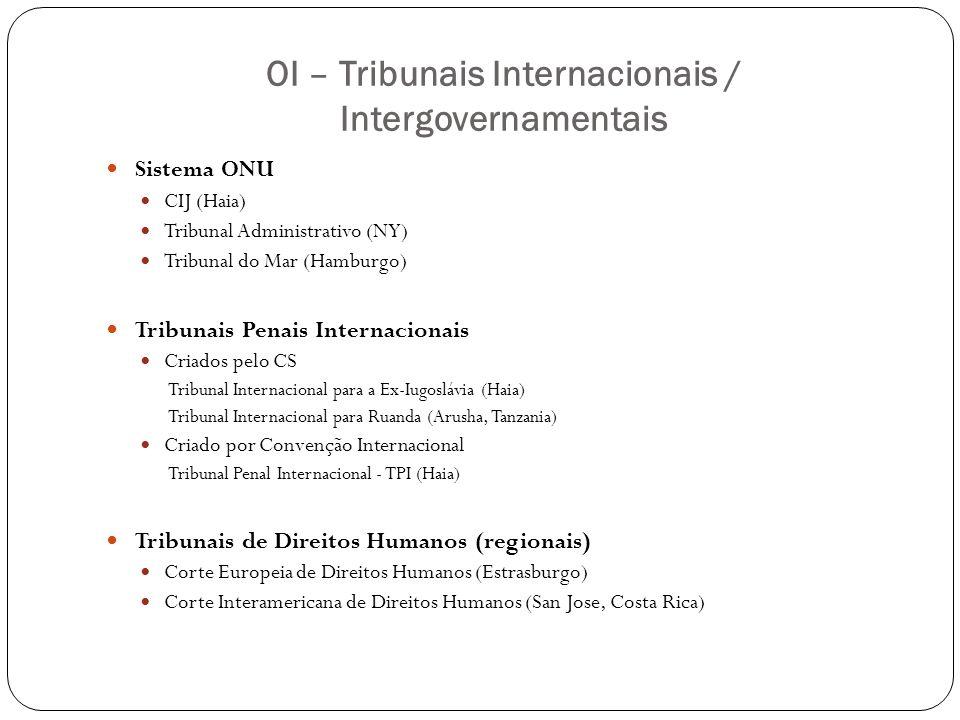 OI – Tribunais Internacionais / Intergovernamentais Sistema ONU CIJ (Haia) Tribunal Administrativo (NY) Tribunal do Mar (Hamburgo) Tribunais Penais In