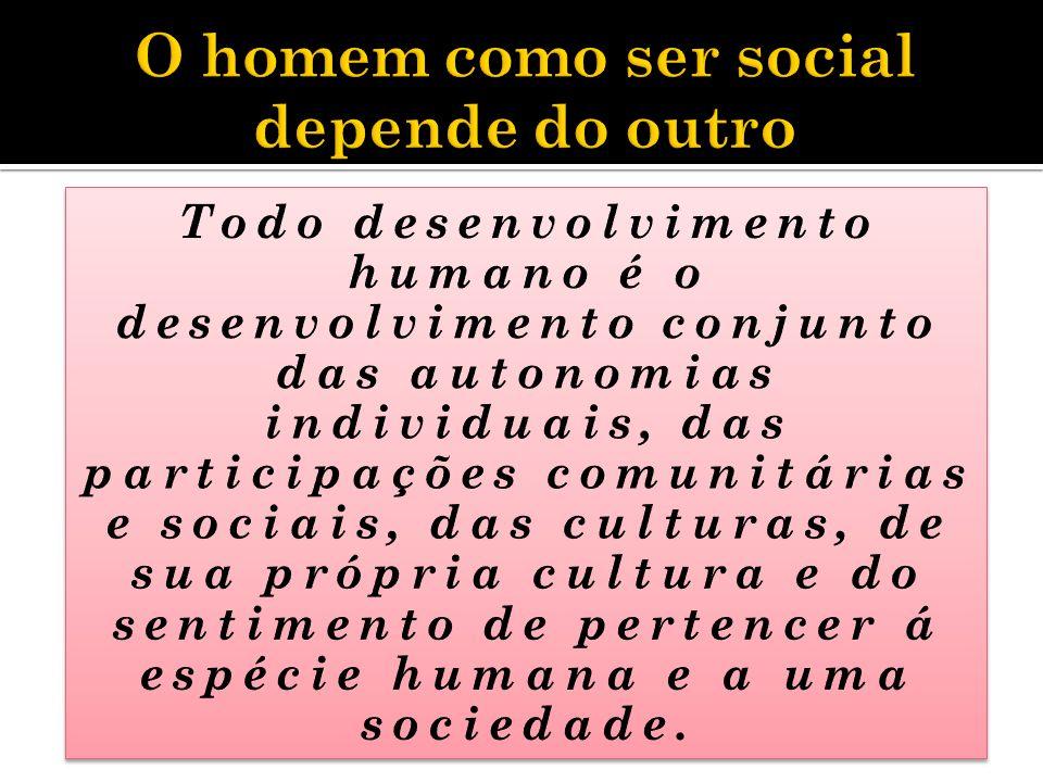 O homem só existe quando vive em sociedade, mas se completa na cultura.