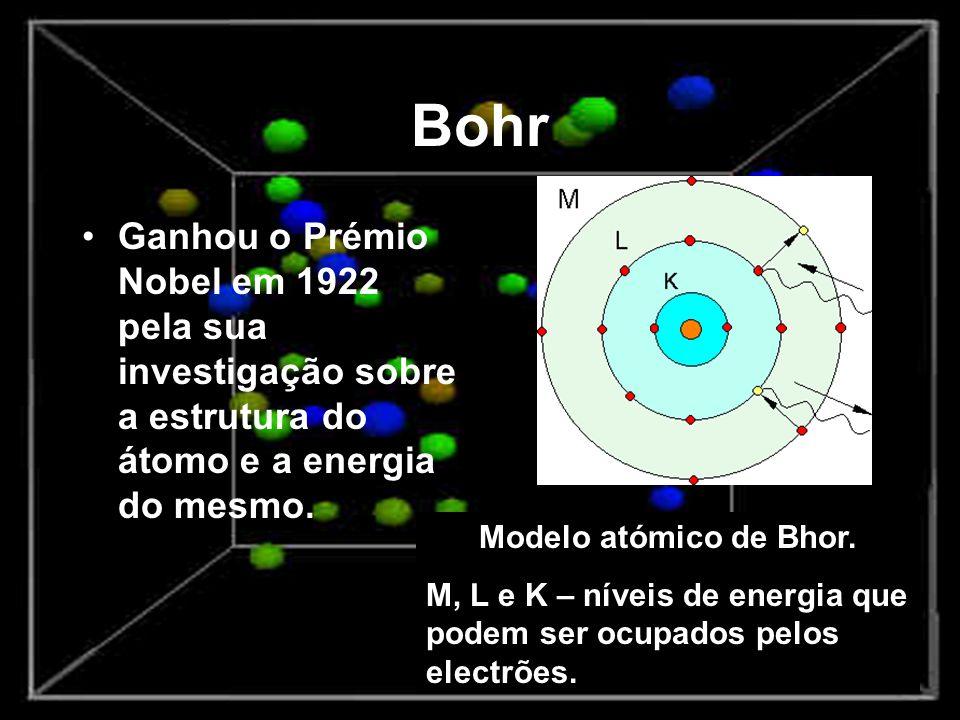 Bohr Ganhou o Prémio Nobel em 1922 pela sua investigação sobre a estrutura do átomo e a energia do mesmo. Modelo atómico de Bhor. M, L e K – níveis de