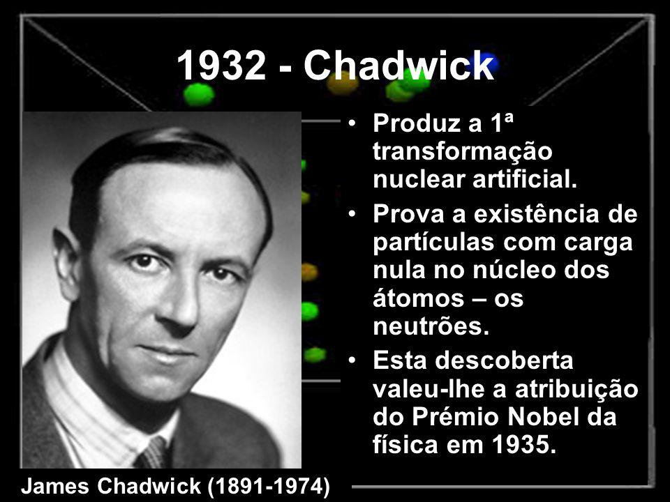 1932 - Chadwick Produz a 1ª transformação nuclear artificial. Prova a existência de partículas com carga nula no núcleo dos átomos – os neutrões. Esta