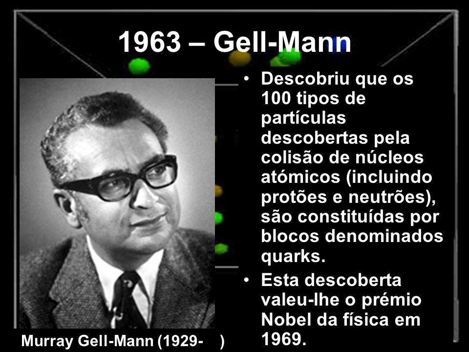 1963 – Gell-Mann Descobriu que os 100 tipos de partículas descobertas pela colisão de núcleos atómicos (incluindo protões e neutrões), são constituída