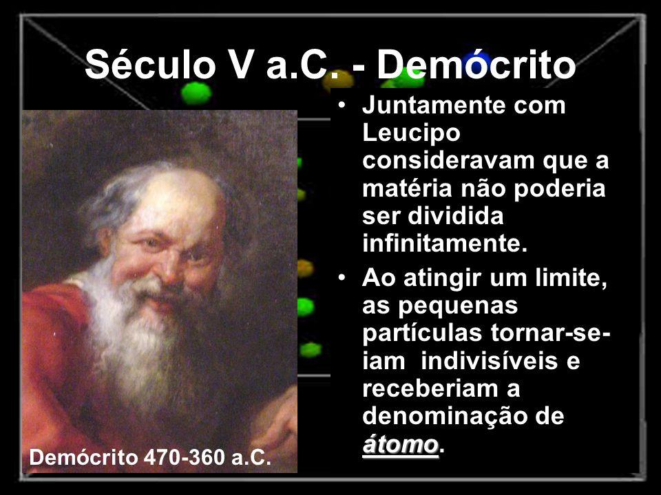Século V a.C. - Demócrito Juntamente com Leucipo consideravam que a matéria não poderia ser dividida infinitamente. átomoAo atingir um limite, as pequ