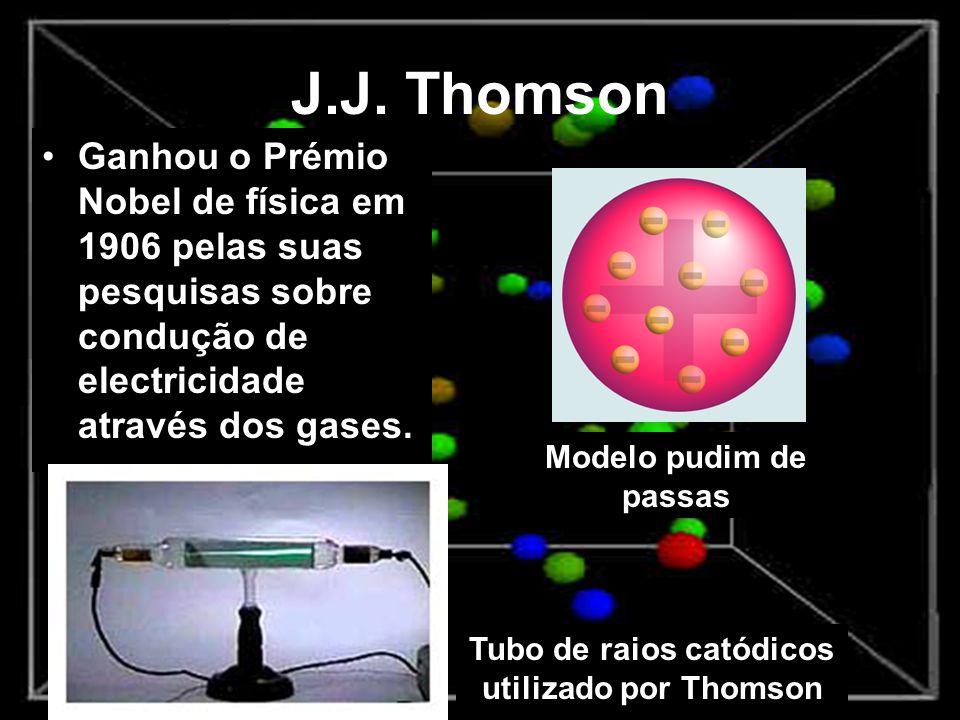 J.J. Thomson Ganhou o Prémio Nobel de física em 1906 pelas suas pesquisas sobre condução de electricidade através dos gases. Tubo de raios catódicos u