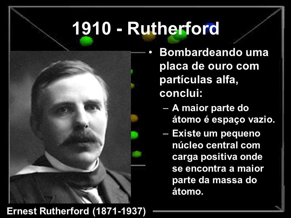 1910 - Rutherford Bombardeando uma placa de ouro com partículas alfa, conclui: –A maior parte do átomo é espaço vazio. –Existe um pequeno núcleo centr