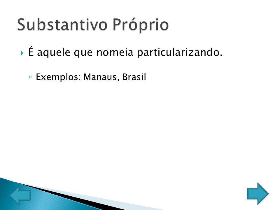 É aquele que nomeia particularizando. Exemplos: Manaus, Brasil