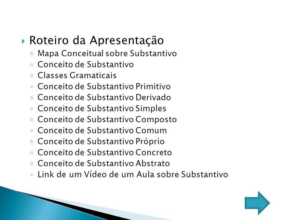Roteiro da Apresentação Mapa Conceitual sobre Substantivo Conceito de Substantivo Classes Gramaticais Conceito de Substantivo Primitivo Conceito de Su