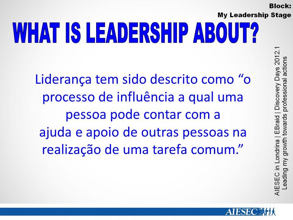 Liderança tem sido descrito como o processo de influência a qual uma pessoa pode contar com a ajuda e apoio de outras pessoas na realização de uma tarefa comum.