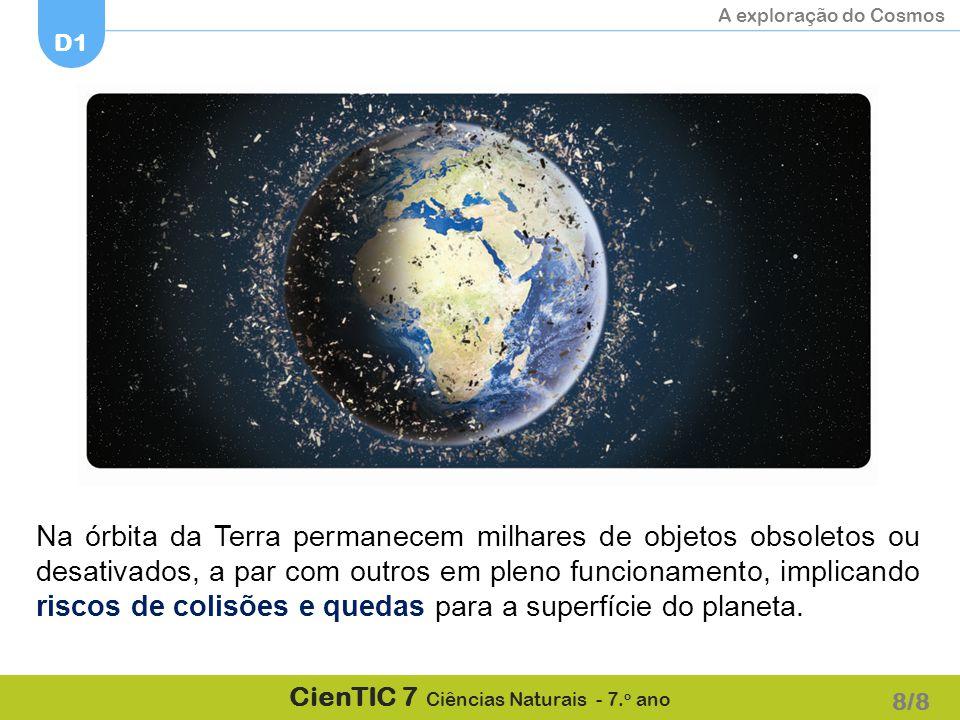 A exploração do Cosmos D1 CienTIC 7 Ciências Naturais - 7. o ano Na órbita da Terra permanecem milhares de objetos obsoletos ou desativados, a par com