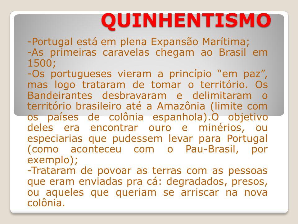 QUINHENTISMO -Portugal está em plena Expansão Marítima; -As primeiras caravelas chegam ao Brasil em 1500; -Os portugueses vieram a princípio em paz, mas logo trataram de tomar o território.