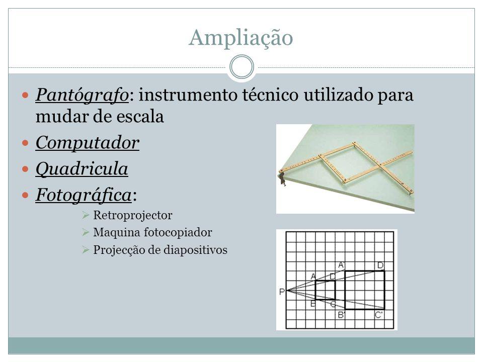 Ampliação Pantógrafo: instrumento técnico utilizado para mudar de escala Computador Quadricula Fotográfica: Retroprojector Maquina fotocopiador Projec