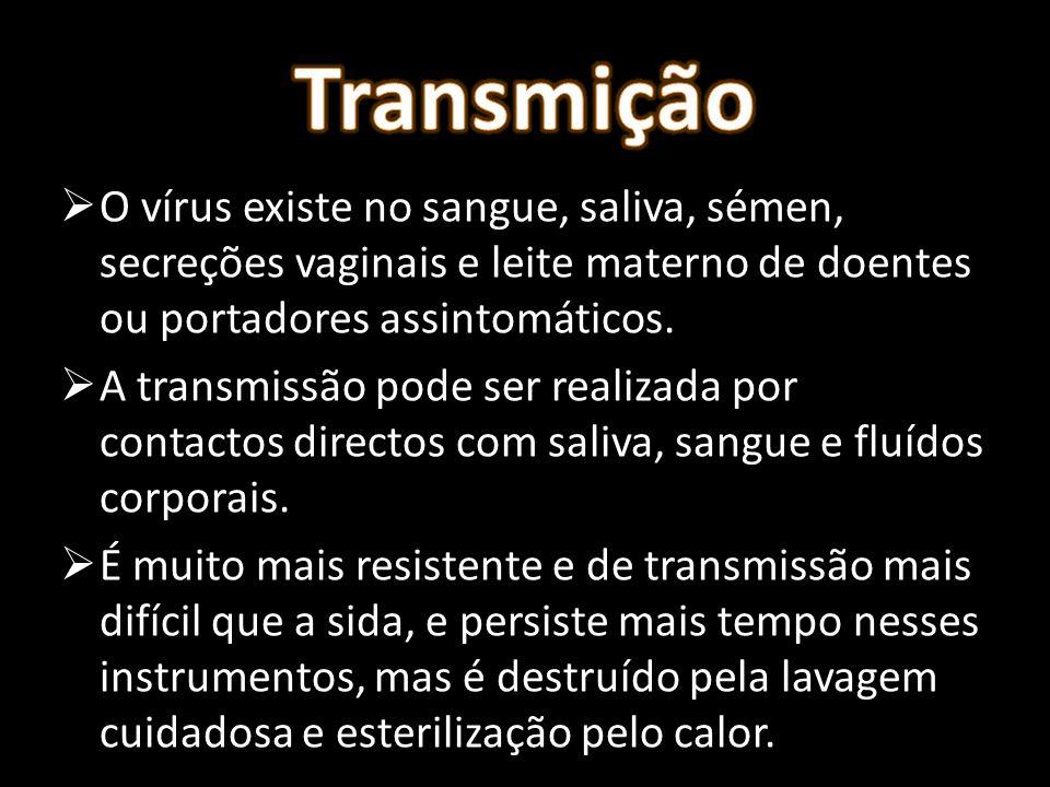 O vírus existe no sangue, saliva, sémen, secreções vaginais e leite materno de doentes ou portadores assintomáticos. A transmissão pode ser realizada