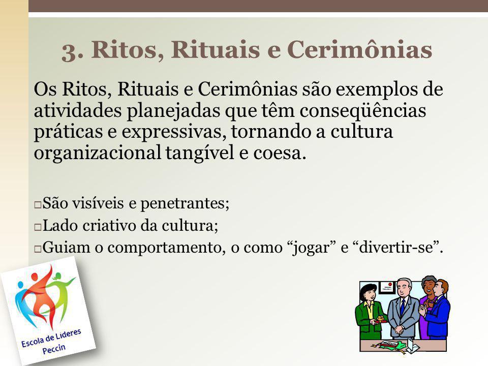 Os Ritos, Rituais e Cerimônias são exemplos de atividades planejadas que têm conseqüências práticas e expressivas, tornando a cultura organizacional t