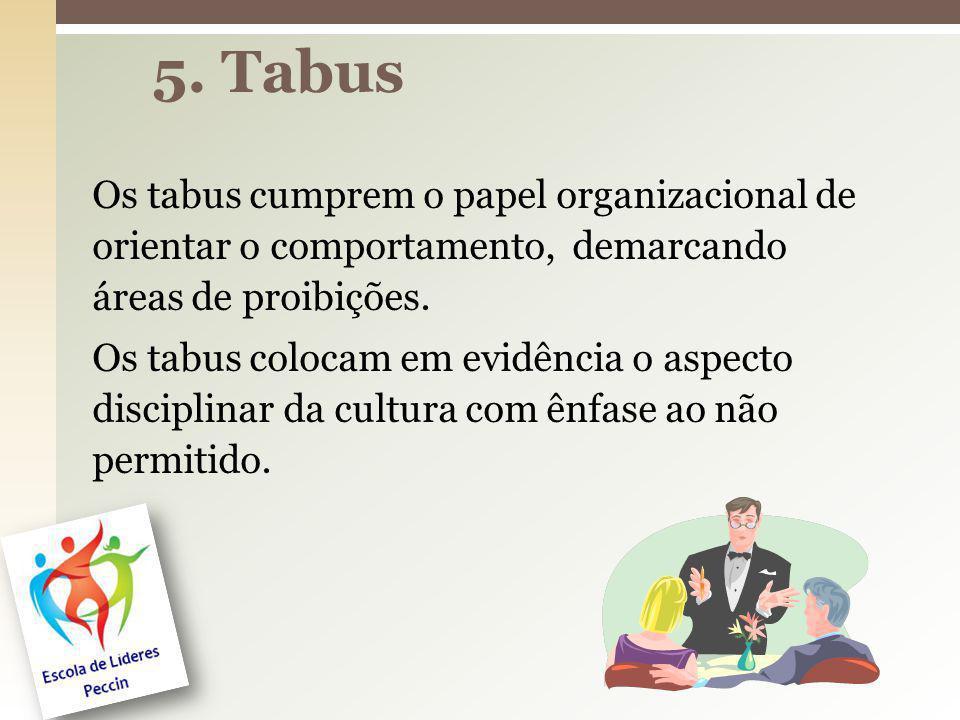 Os tabus cumprem o papel organizacional de orientar o comportamento, demarcando áreas de proibições. Os tabus colocam em evidência o aspecto disciplin